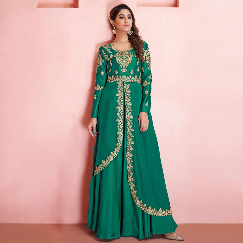 Trendy Green Colored Partywear Embroidered Tapeta Silk Gown