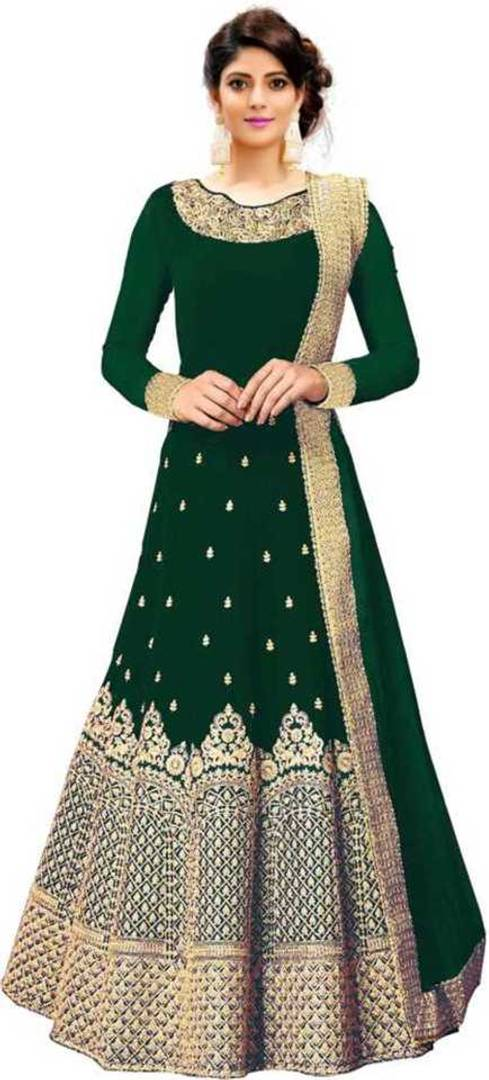 Women's Semi Stitched Georgette Anarkali Gown With Dupatta