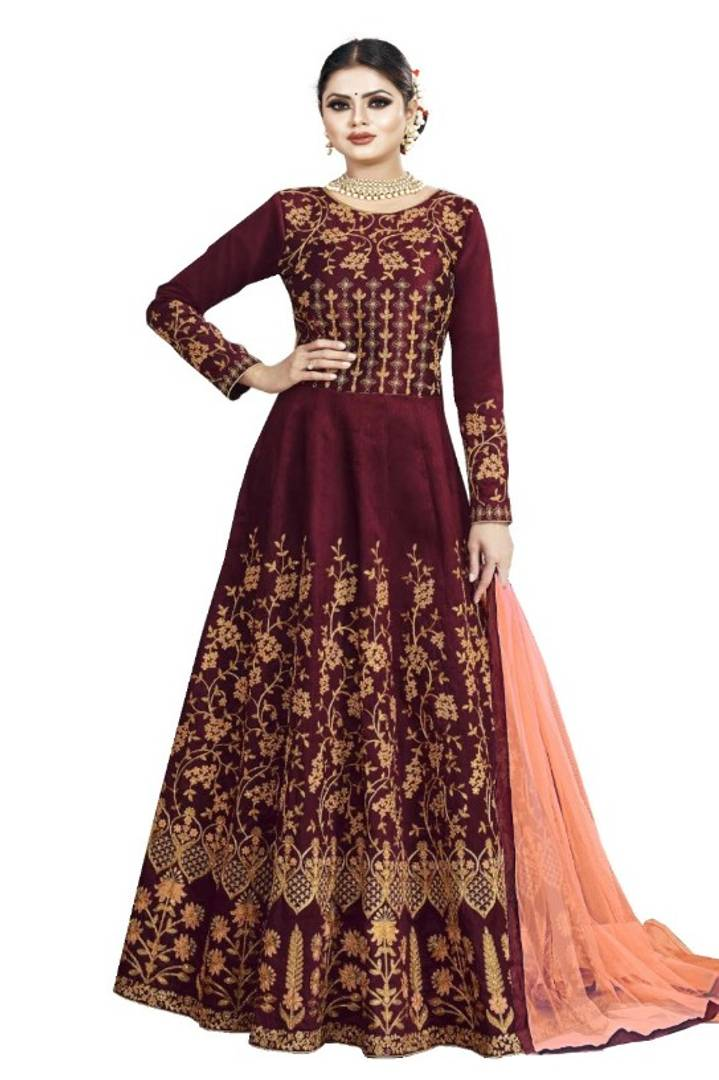 Stylish Taffeta Silk Heavy Embroidered Gown With Dupatta