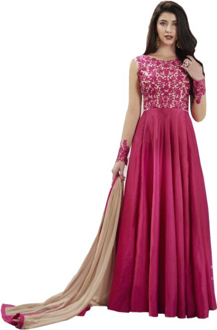 New Silk Embroidered Anarkali Gown For Women  (Semi Stitched)