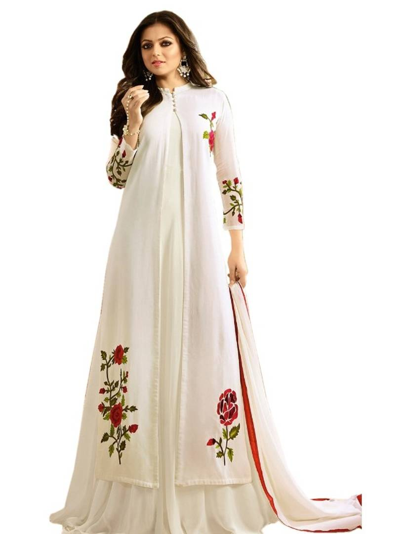 Georgette Embroidered Anarkali Gown For Women  (Semi Stitched)