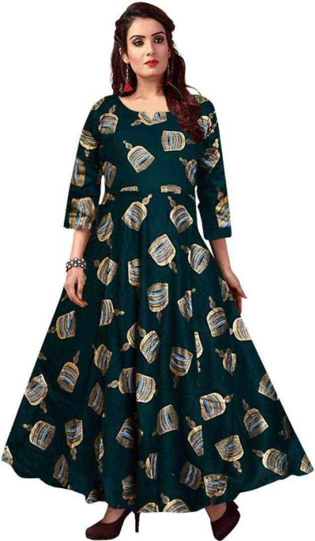 Women's Rayon Green Printed Anarkali Gown
