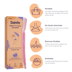 Sanfe Pretty Face Razor for painfree facial hair removal (3 units) - upper lips, chin, peach fuzz - Stainless steel blade, comfortable, firm grip
