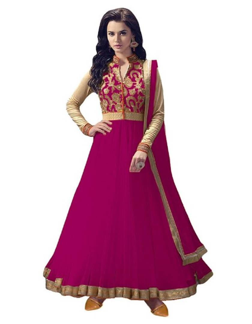 Women New Designer Net Rani Embroidered and Embellished Style Gown(Semi Stitched)