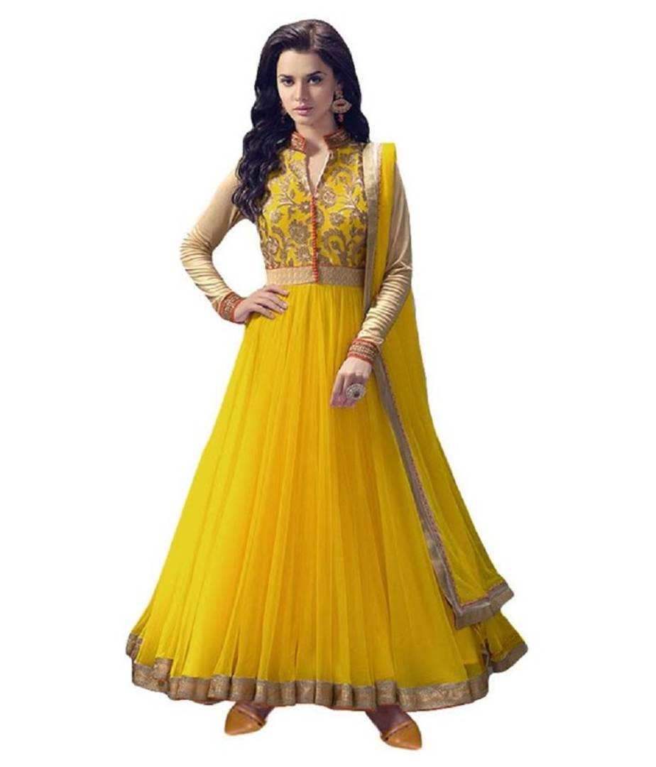 Women New Designer Net Yellow Embroidered and Embellished Style Gown(Semi Stitched)