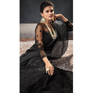 Blissful Black Colored Designer Partywear Embroidered Net Anarkali Suit