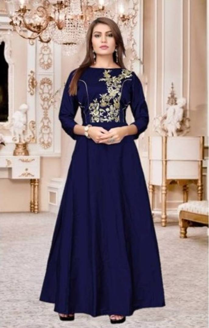 Beautiful Embroidery Anarkali Gown Navy Blue