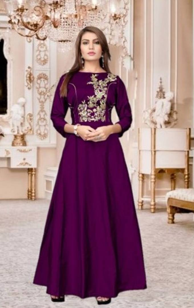 Beautiful Embroidery Anarkali Gown Purple
