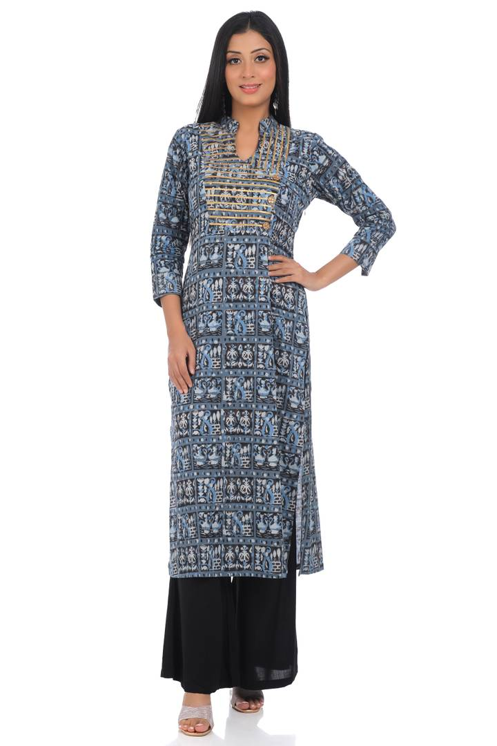 Elite Grey Cotton Printed Straight Kurta For Women