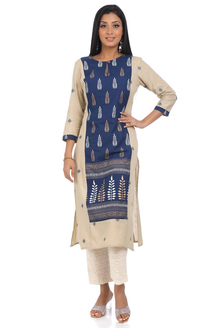 Elite Cream Cotton Printed Straight Kurta For Women