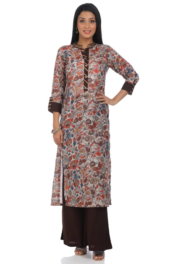 Elite Multicoloured Silk Straight Kurta For Women