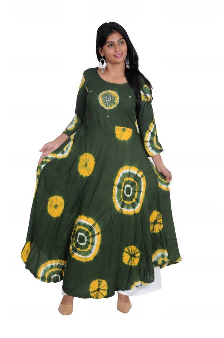 Anarkali Shape Dark Green Colored Rayon Printed Kurta For Women