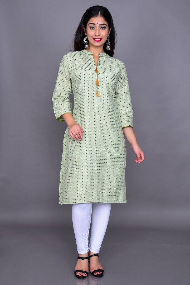 Stylish Rayon Green Printed Kurta  For Women