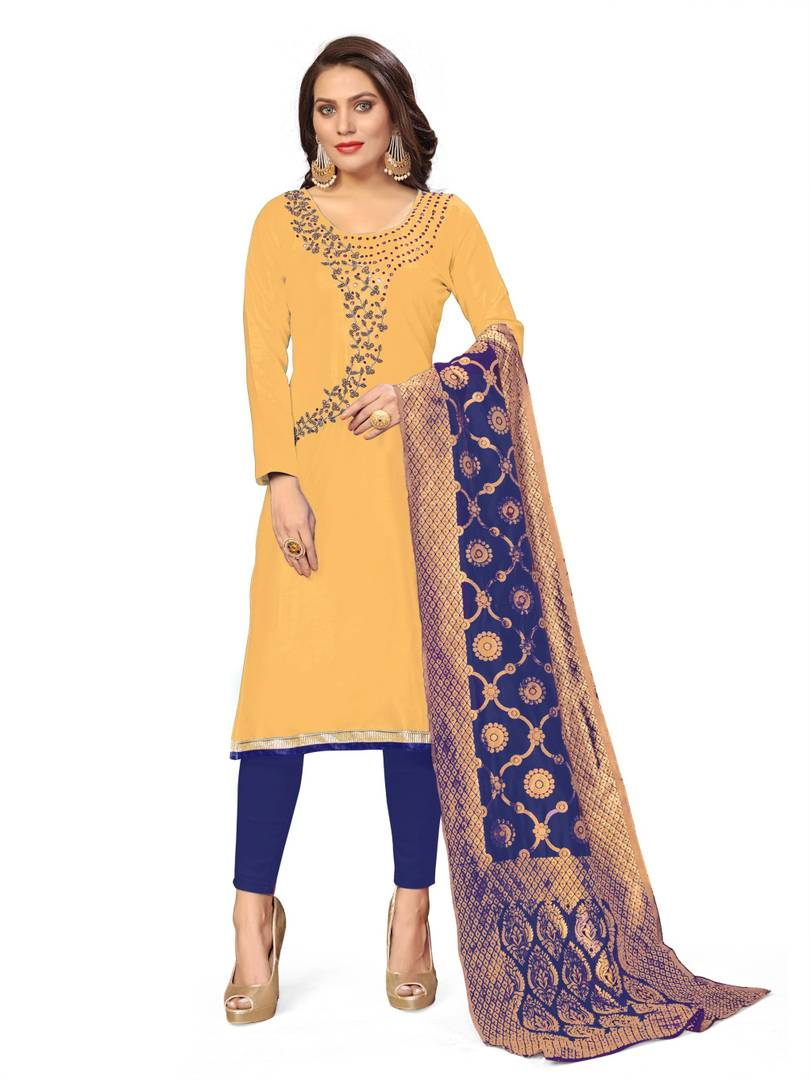 Women's Beautiful Yellow Printed Cotton Dress Material with Dupatta