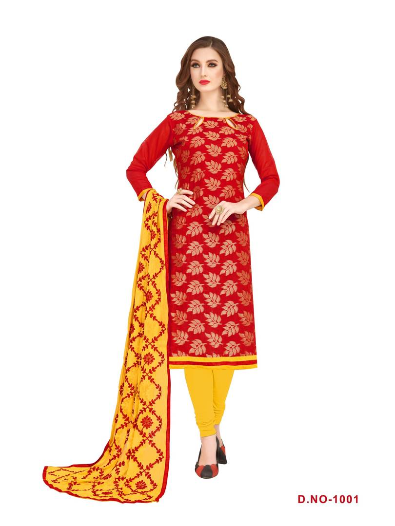 Women's Beautiful Red Printed Silk Dress Material with Dupatta