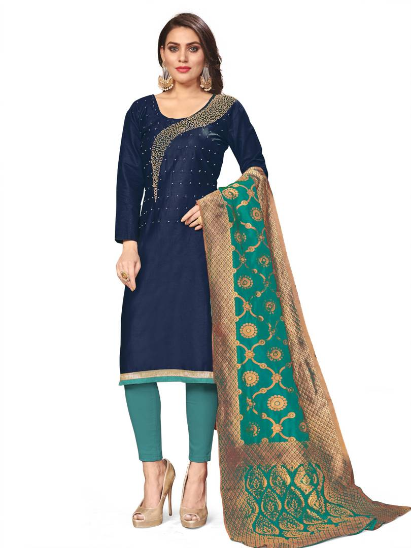 Women's Beautiful Blue Printed Cotton Dress Material with Dupatta
