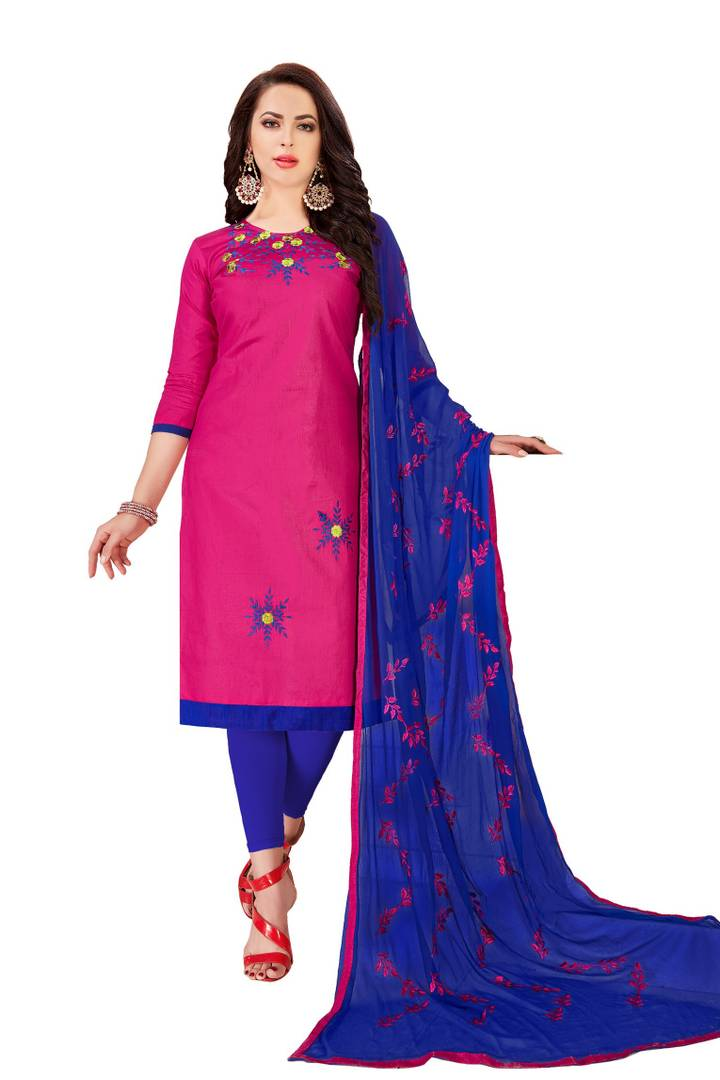 Women's Beautiful Pink Printed Cotton Dress Material with Dupatta