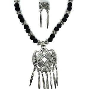 Trending Oxidised Silver Pendant Necklace set with Earrings