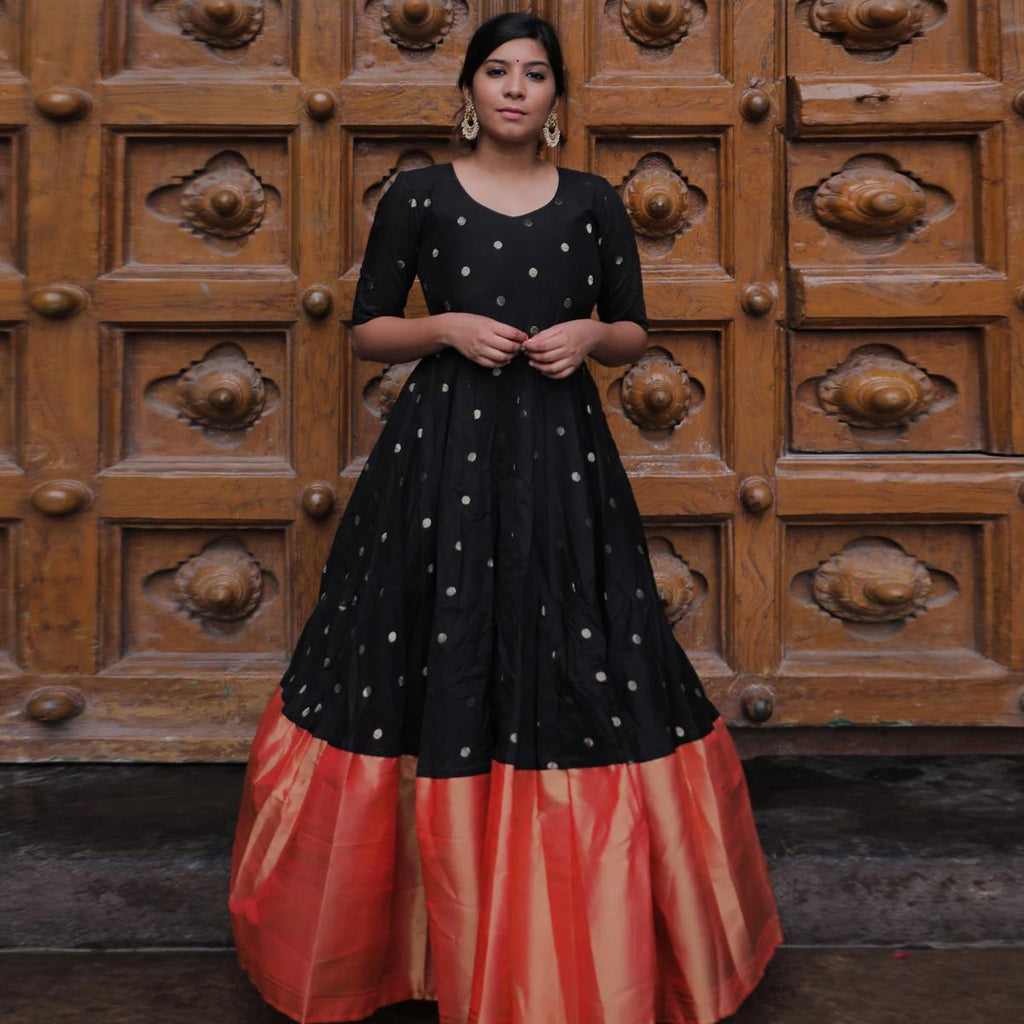 Delightful Black Colored Partywear Diamond Work Tapetta Silk Gown