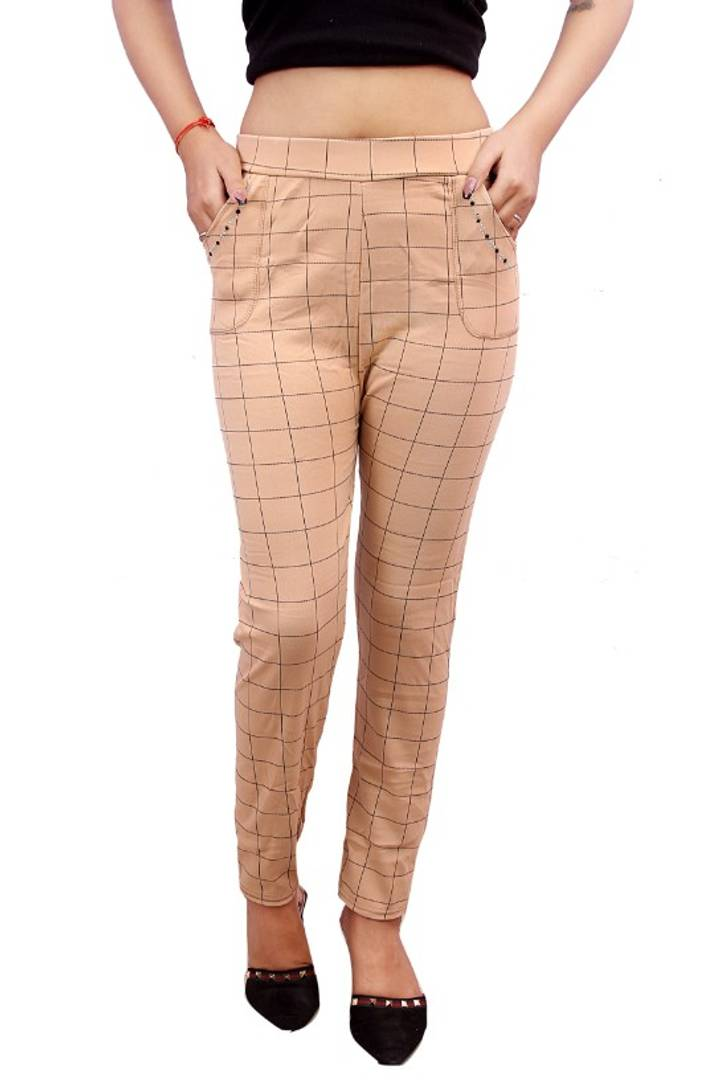 Womens Ankle length checked Jegging (BEIGE)