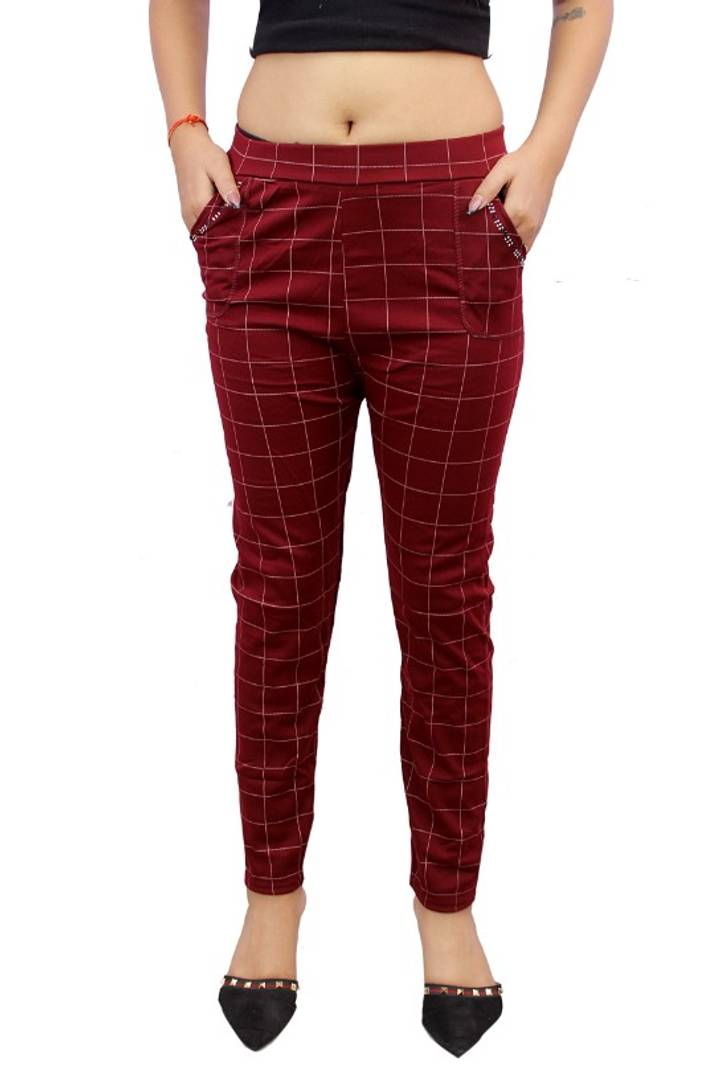 Womens Ankle length checked Jegging (RED)