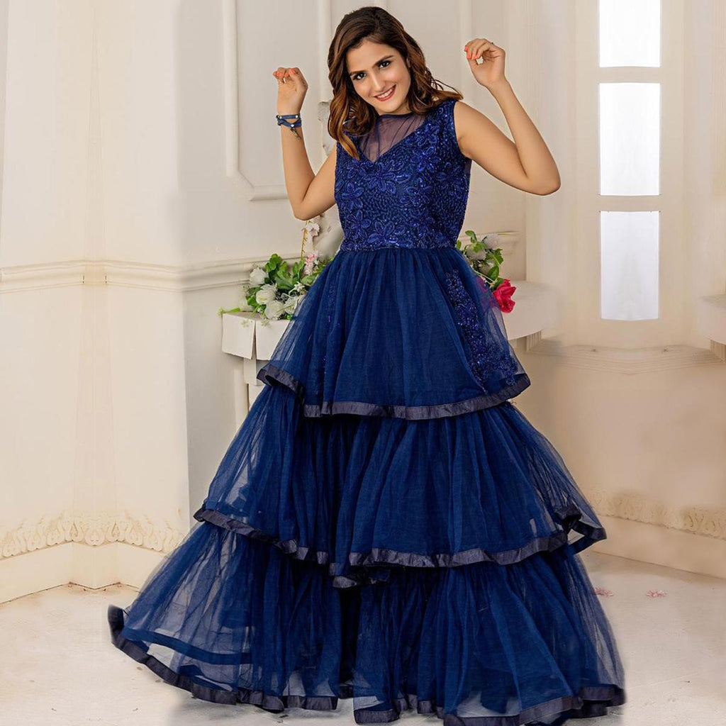 Captivating Navy Blue Colored Party Wear Embroidered Soft Net Anarkali Style Gown