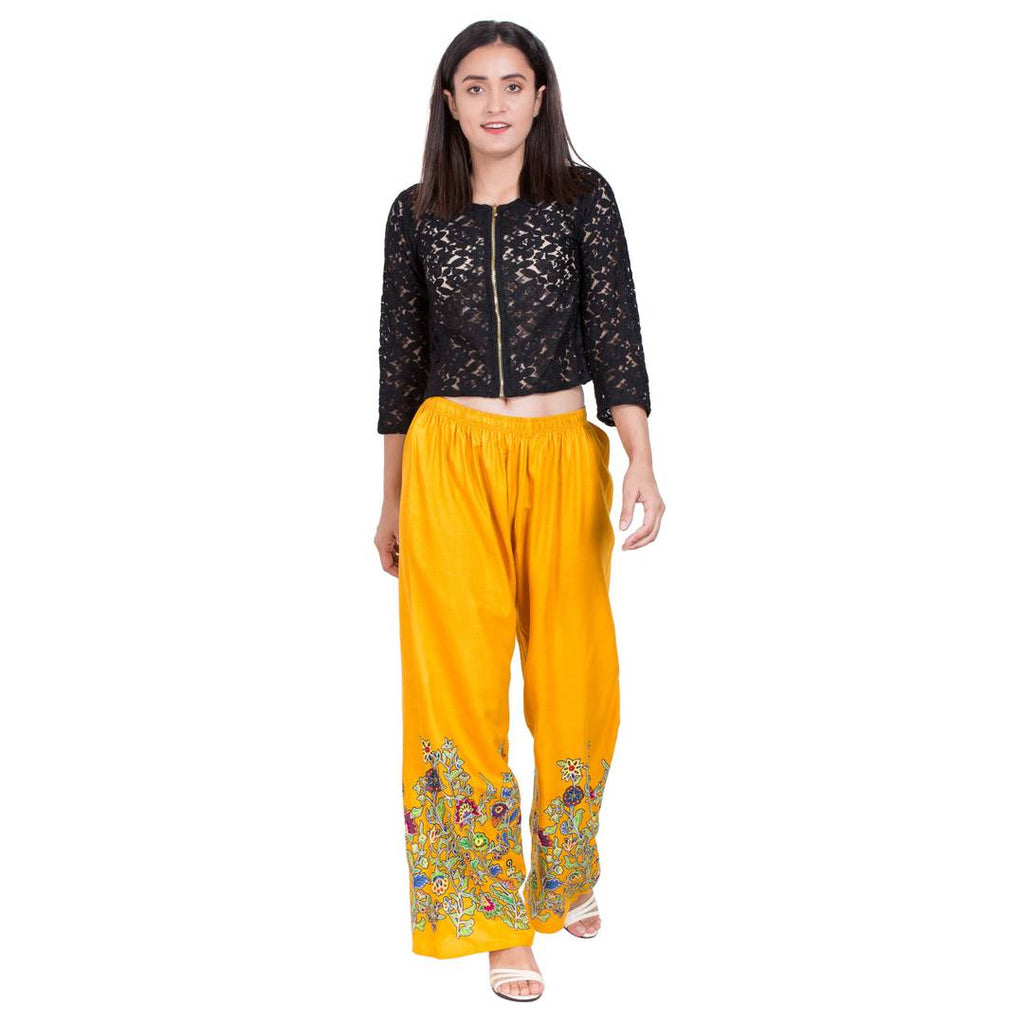 Stylish Rayon Mustard Floral Printed Palazzo For Women