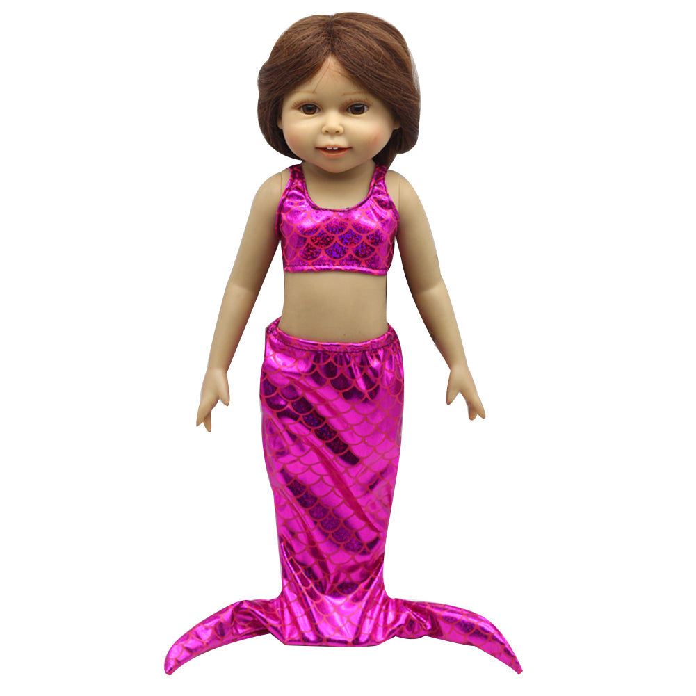 MilkySkinForever 2Pcs Baby Fashion Doll Girl Mermaid Clothing Crop Top Tail Skirt Dress Kids Gift