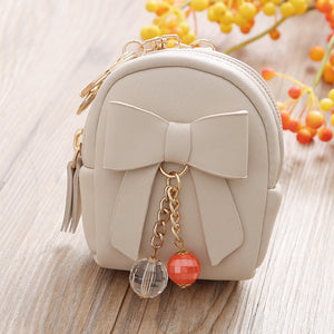MilkySkinForever Women Faux Leather Mini Bowknot Keychain Dangle Bead Pendant Bag Coin Purse