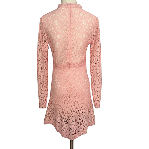 MilkySkinForever Women Sexy Bodycon Summer Long Sleeve O-neck Lace Crochet Hollow Mini Party Dress