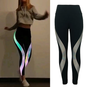 MilkySkinForever Women Glowing Sports Yoga Pants Rainbow Reflective Stripes Fashion Gym Leggings