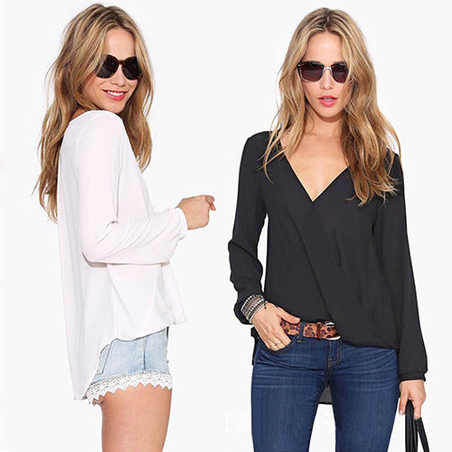 MilkySkinForever Women's Deep V-Neck Sexy Solid Color Chiffon Long Sleeve Blouse Casual Top