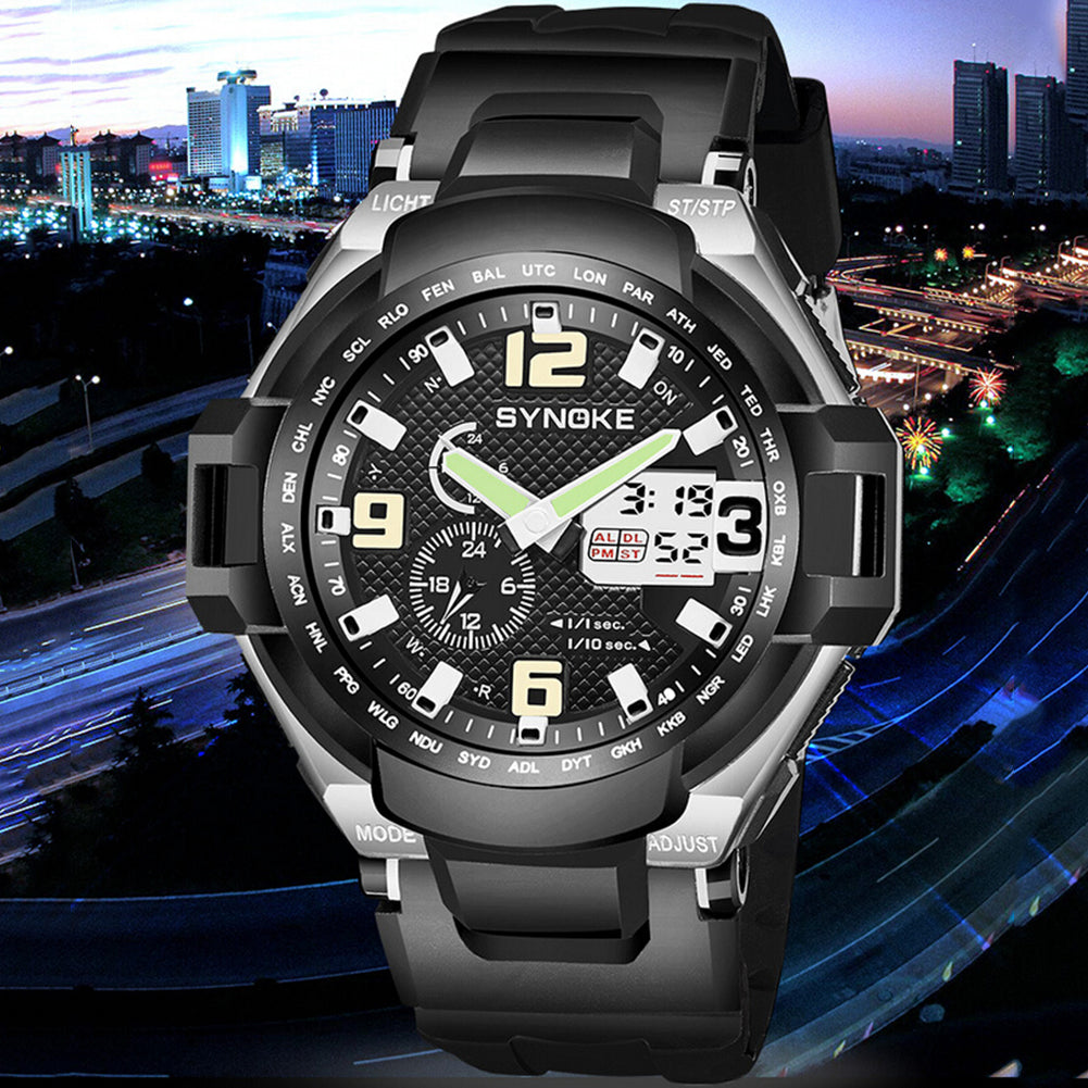 MilkySkinForever Outdoor Multiuse Men Sports Waterproof Dual Display Digital Wrist Watch Gift