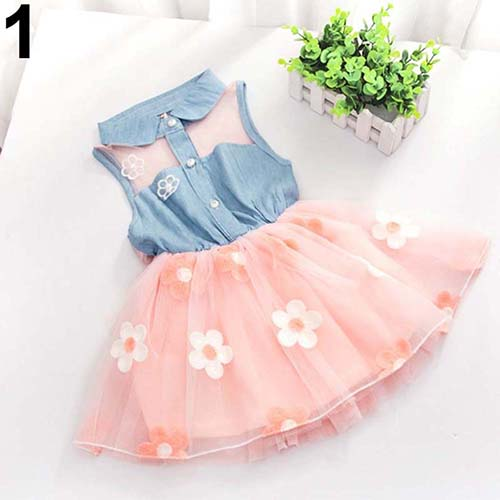 MilkySkinForever Sweet Girl Denim Tulle Skirt Patchwork Little Princess Xmas Party Tutu Dress