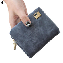 Load image into Gallery viewer, Women Fashion Matte Faux Leather Change Coin Short Purse Clutch Trifold Wallet