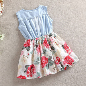 MilkySkinForever Baby Girl's Fashion Floral Dress Kids Summer Sleeveless Denim Top Stitching Skirt