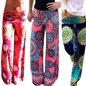 MilkySkinForever Women's Summer Floral Pants Casual High Waist Flare Wide Leg Long Trousers