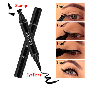 MilkySkinForever Dual ended Black Liquid Eyeliner Pen with Stamp Sexy Eye Makeup Beauty Tool