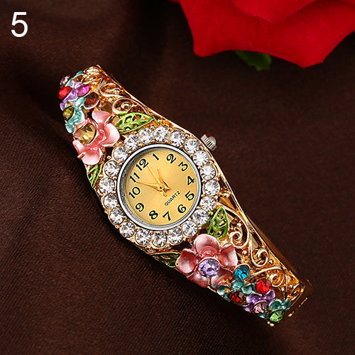 MilkySkinForever Women's Beautiful Flower Band Hollow Out Bangle Crystal Quartz Bracelet Watch Jewelry