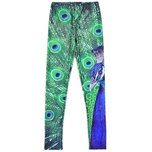 MilkySkinForever Sexy Woman Stretch Peacock Pattern Print Leggings Slim Sports Yoga Fitness Pants