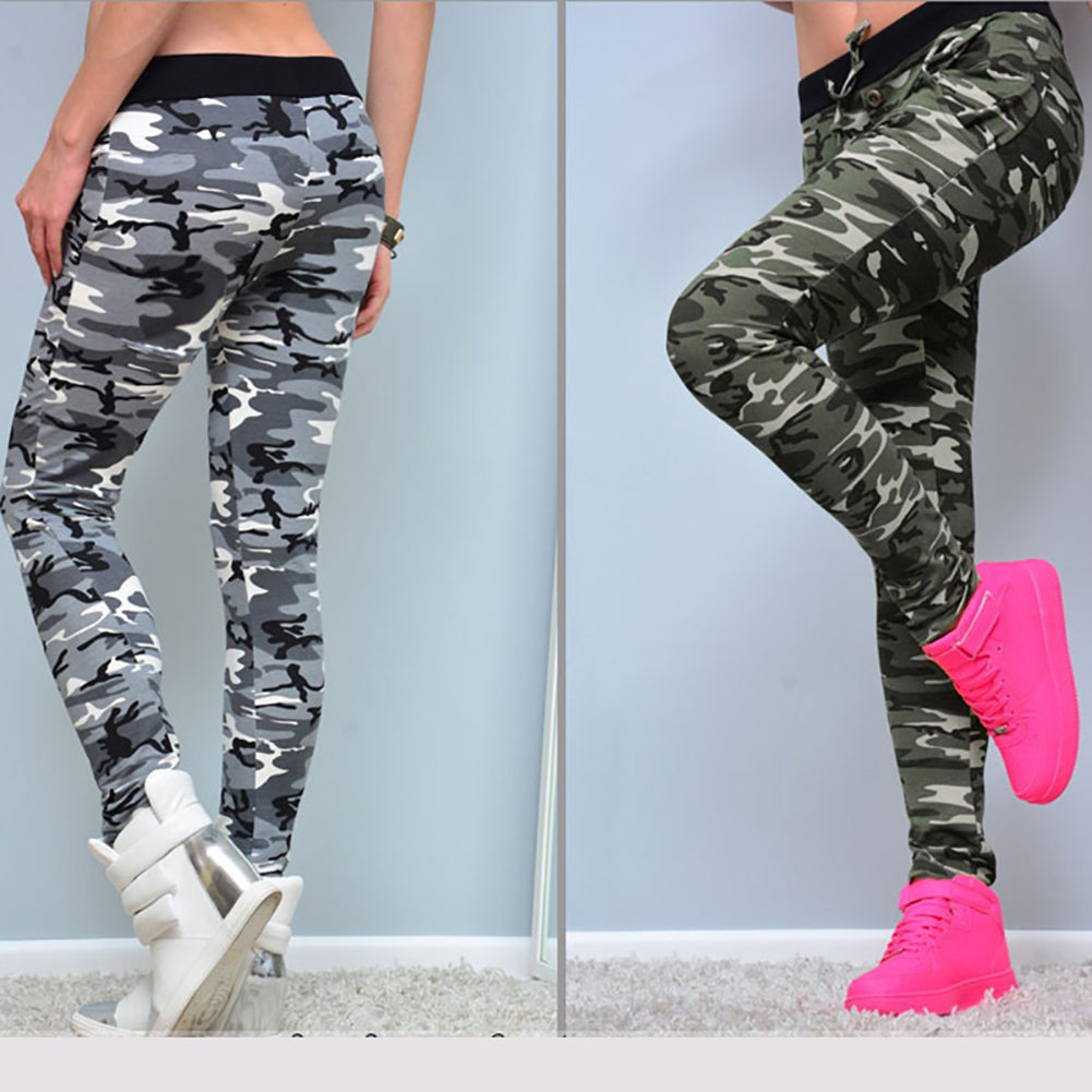 MilkySkinForever Women's Fashion Camouflage Skinny Leggings Stretch Slim Pencil Pants Trousers