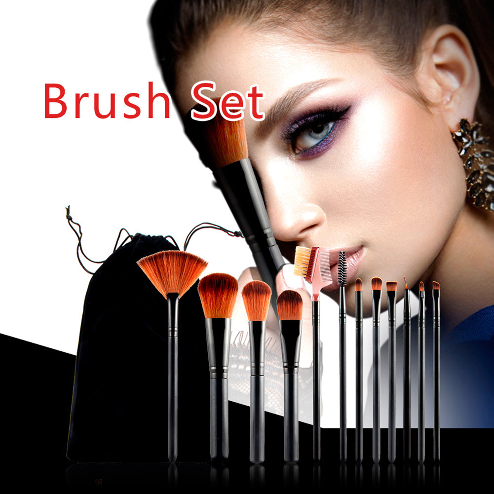 MilkySkinForever 12Pcs Fashion Makeup Brushes Powder Foundation Eyeshadow Lip Beauty Tool Set