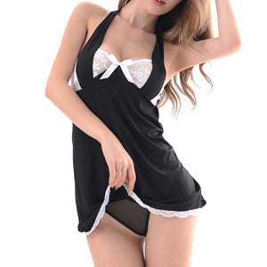 MilkySkinForever Sexy Women Nightgown Strappy Backless Bowknot Lace Dress Thong Underwear