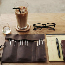 Load image into Gallery viewer, MilkySkinForever Vintage Faux Leather Makeup Cosmetic Brush Pen Pencil Case Organizer Pouch Bag