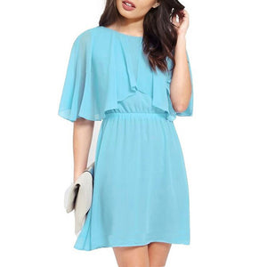 MilkySkinForever Fashion Women Sexy Half Sleeve Mini Dress Plus Size Evening Party Chiffon Dress