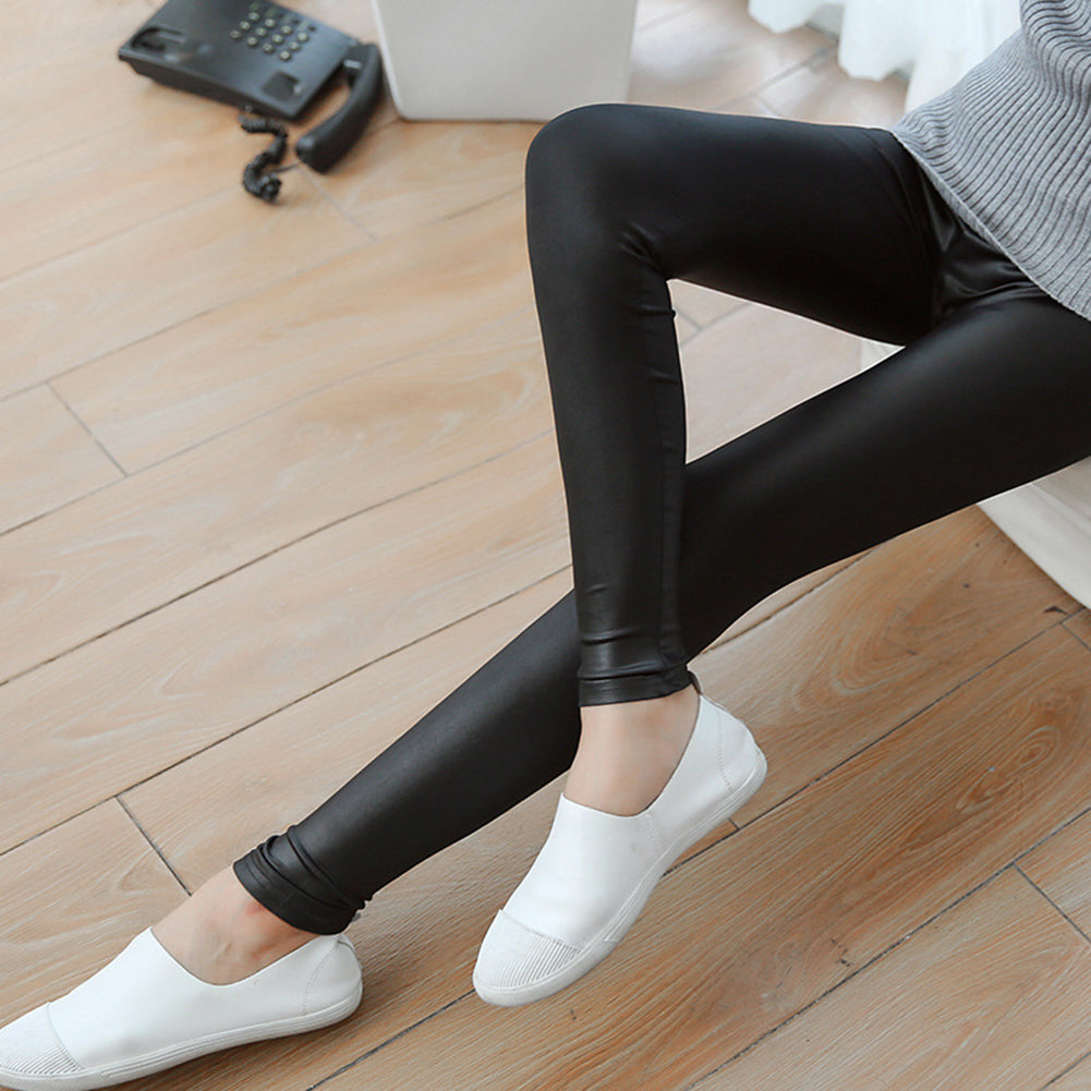 MilkySkinForever Women Skinny Faux Leather Stretchy Pants Leggings Pencil Tight Trousers Fashion