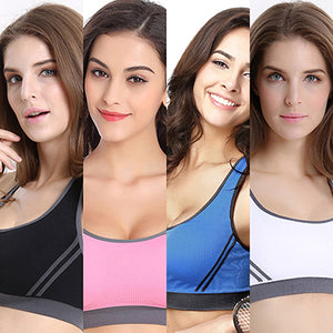 MilkySkinForever Sexy Women Jogging Fitness Stretch Padded Sports Crop Top Yoga Bra Sportswear