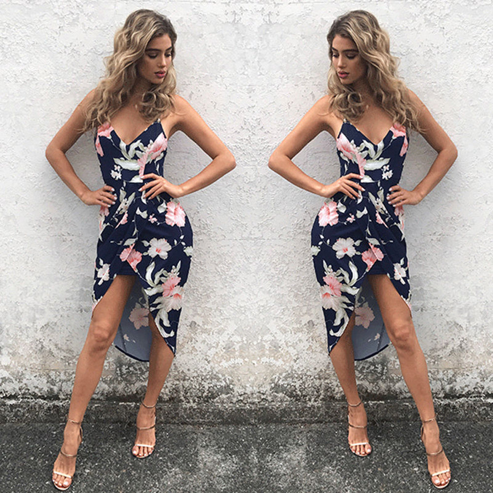 MilkySkinForever Floral Summer Sleeveless Women Evening Party Cocktail Beach Short Mini Dress