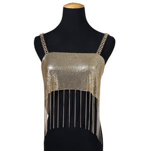 MilkySkinForever Sexy Night Club Party Women Sequined Tassel Body Chain Vest Crop Top Clubwear