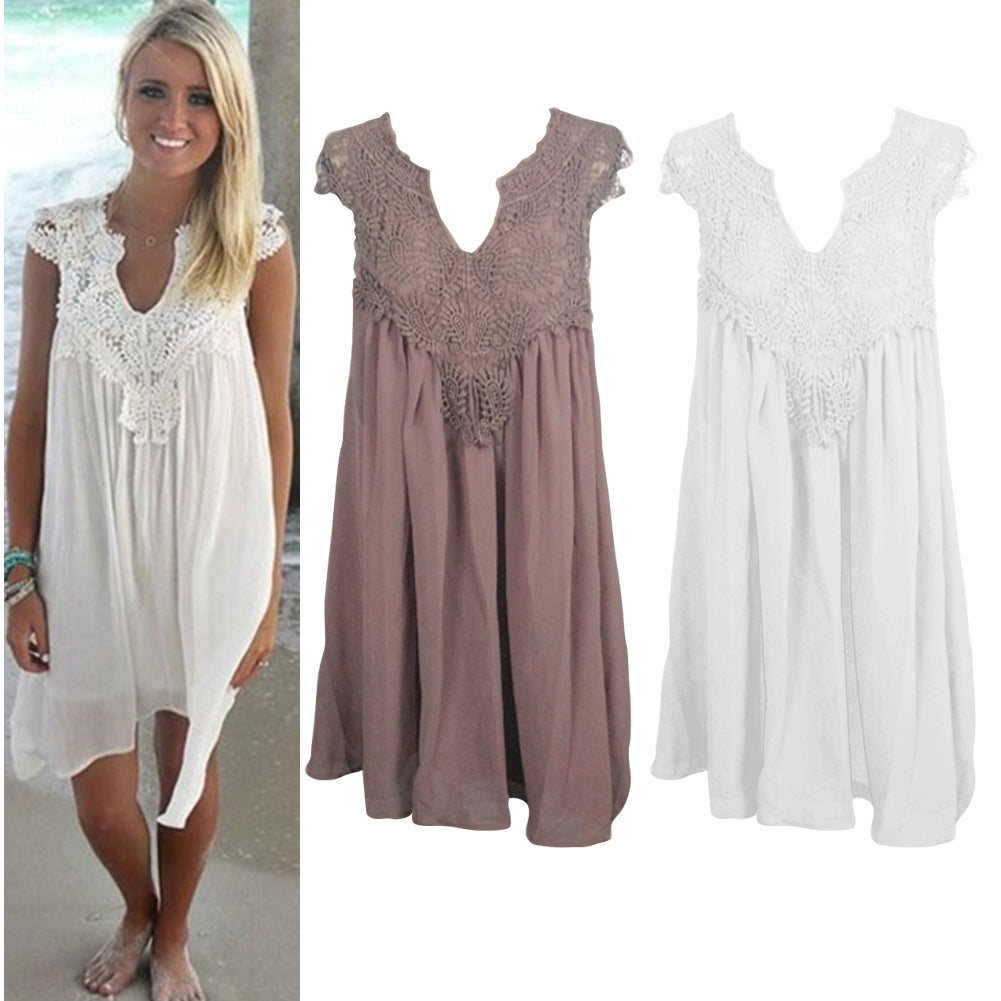 Women's Floral Lace Patchwork Chiffon Summer Loose Casual Tank Dress Sundress